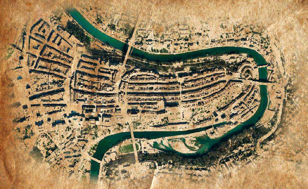 Ein Pergament mit einem Stadtplan von Bern in Schwarz weiß. Die Aare, die durch die Stadt fließt, und in einer Schlinge die Altstadt abschnürt, und ihr Schutz bietet ist in Blau dargestellt.