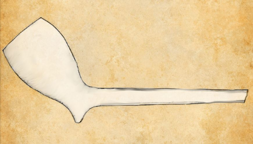 Pergamet mit einer Digitalen Zeichnung einer Tonpfeife. Die Pfeife ist schmucklos und weiß.