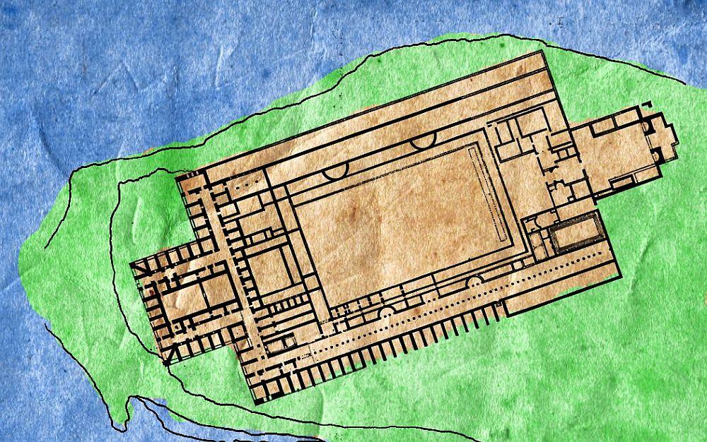 Karte dr Halbinselspitze auf der die Villa sthet, die als Grotten des Catull bekannt wurd. Das Gebäude erstreckt sich bis auf dn Letztn Winkel dr Bebaubaren Fläche Der Insel.
