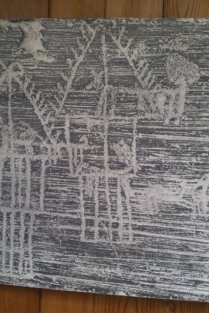 Eine Schiefertafel mit einer Ritzung. Es werden Häuser Dargestellt. Deutlich zu sehen ist ein Tier, vielleicht ine Ziege oder ein Schaf, möglicherweise aber auch ein Hund, das im Dachgeschoss sitzt. Die Felsritzung stammt aus der Bronzezeit und wurde in den Alpen entdeckt. Deutlich zu sehen ist, das die Häuser auf Pfählen stehen.