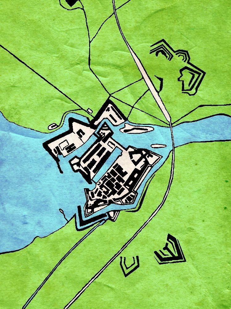 Eine Karte Zeigt di Festung von Pesciera von Oben. Die Grundform ist ein fünfeckiger Strn. Die Festung liegt wie eine Insel zwischen dem Mincino und dem Gardasee.