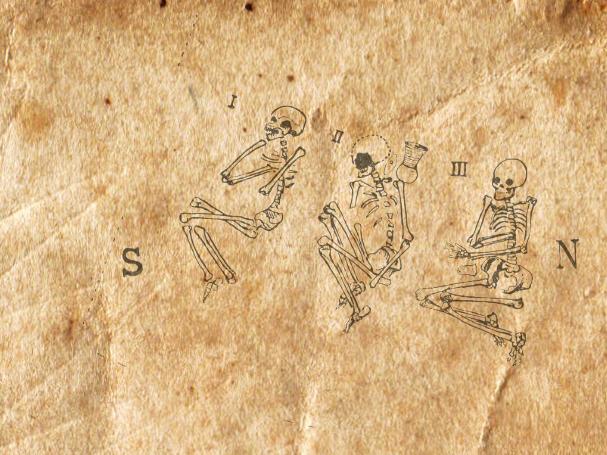 Ein Pergament mit drei Skeletten in Hockerlage. Sie alle liegen auf der Rechten schulter und haben angewinkelte Beine. Es handelt sich um Bestattungen der Schnurbandkeramiker.