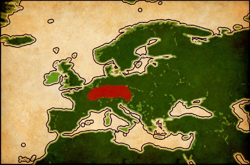 Ein Pergament mit einer Europakarte, die ungefähre verberitung der Hallstattkultur im nördlichen Alpenraum ist rot gekennzeichnet.