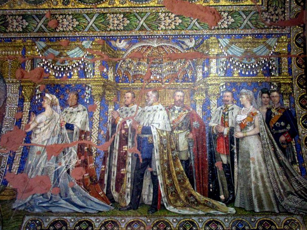 Ein Mosaik das die Kaiserliche Familie zeigt. Es handelt sich um eine Darstellung der Vermählung von Kaiser Wilhelm II.