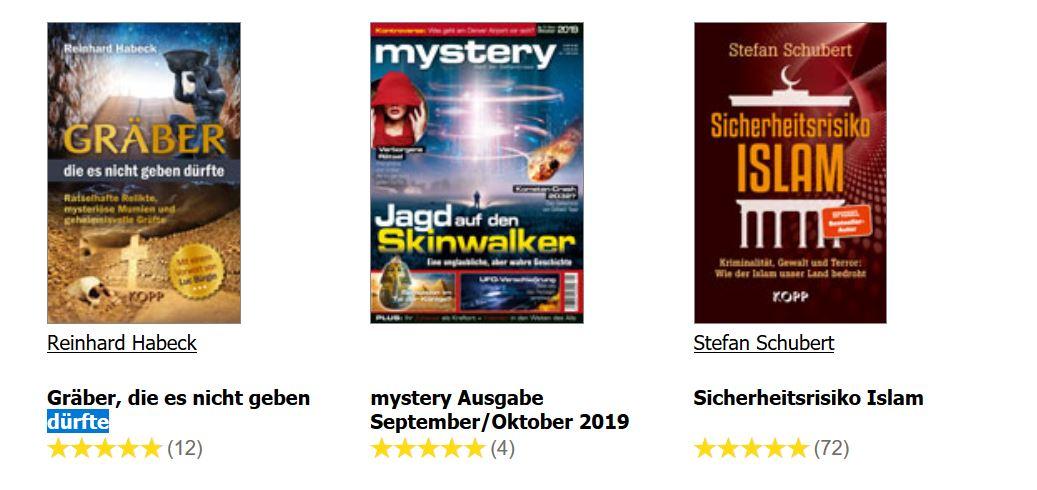 Werbeanzeige für Drei bücher nebeneinander: 1. Gräber die es nicht geben dürfte 2.: Mystery Ausgabe September/Oktober 2019 3.: Sicherheitsrisiko Islam.