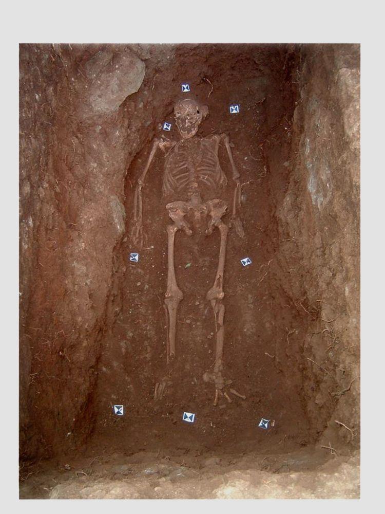Skelett das bei einer Ausgrabung gefunden wurde. Die ersohn liegt auf dem Rücken. Es stammt aus einer Ausgrabungsstätte in Rom