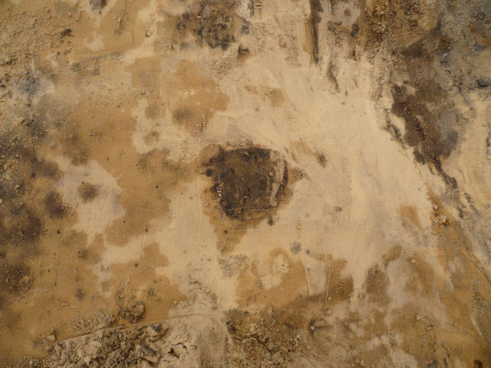 Sandboden. In der mitte ein brauner Fleck