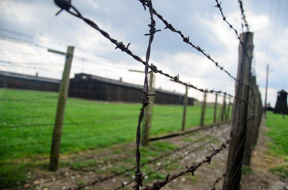 Maschendrahtzaun vor KZ Baracken auf einer grünen Wiese