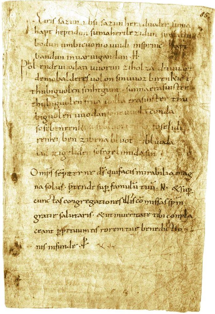 Eine Pergamentseite die in mittelhochdeutsch beschrieben ist.