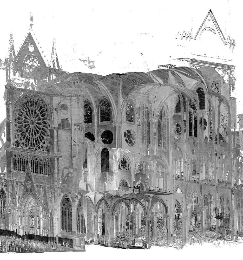Notre Dame in Punktwolkendarstellung. Die Darstellung ist 3-Dimenesional und ist in Grautönen gehalten. zu sehen ist eine detailreiche Architektur.