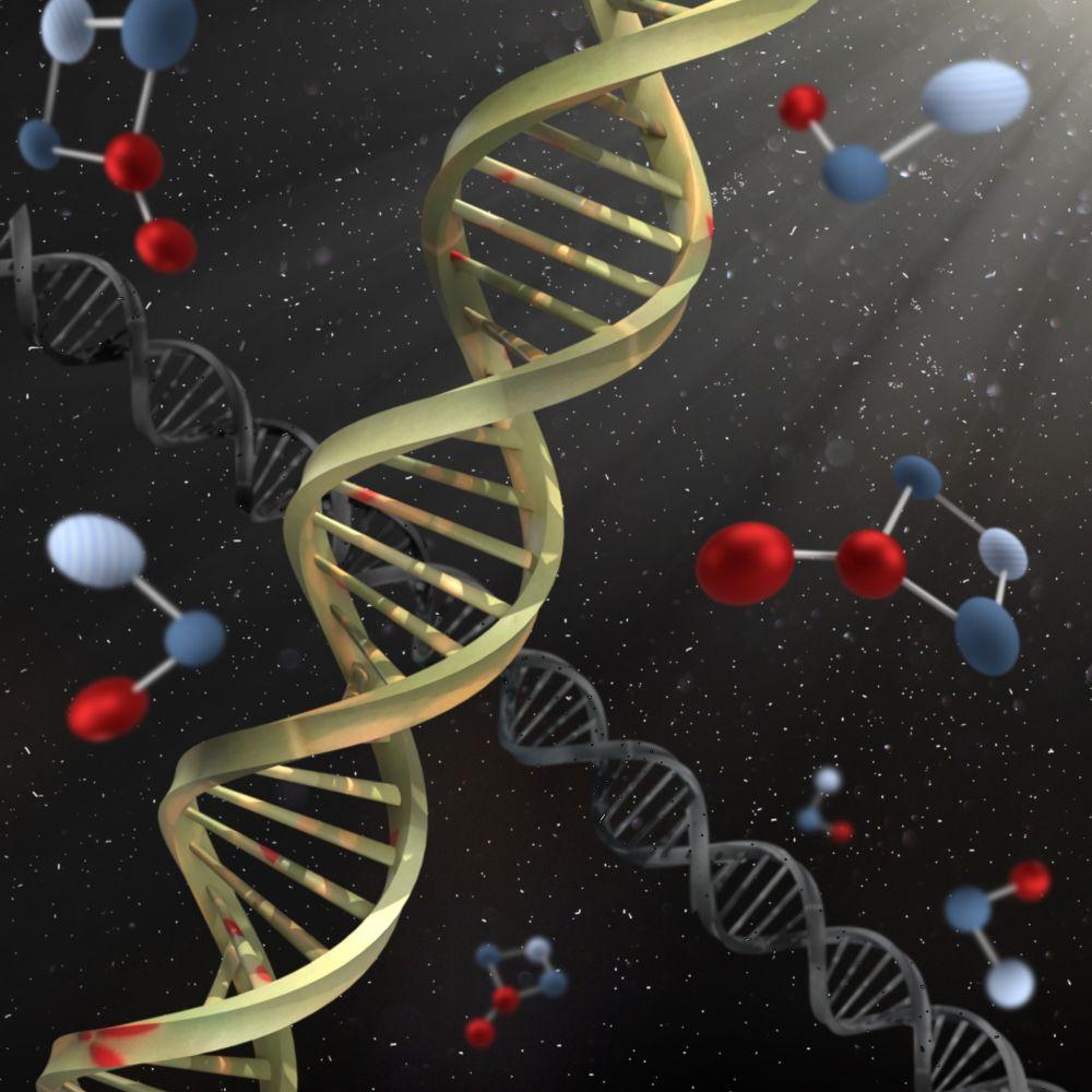 Ein gelber DNA Strang vor einem schwarzen Hintergrund