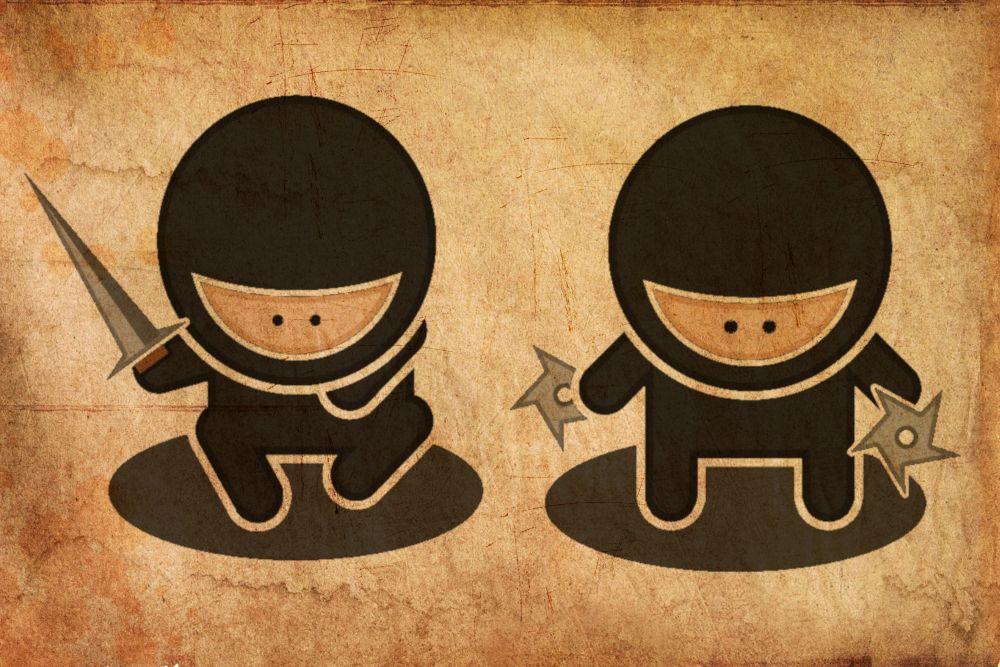 Zwei Manganinjas. Einer hält ein Schwer der andere einen Wurfstern in jeder Hand.
