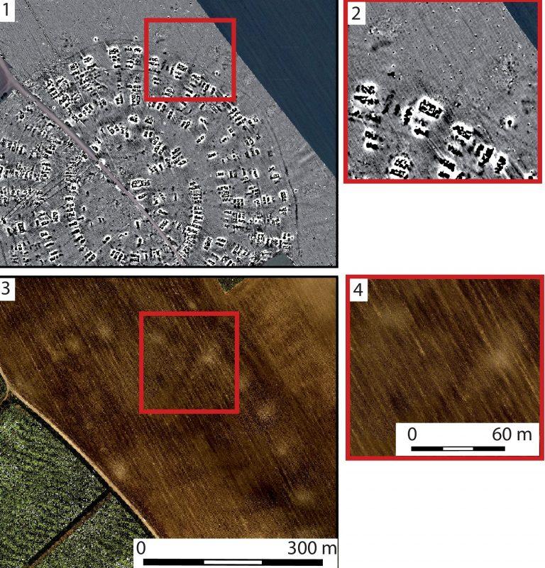 Ein in vier Segmente unterteiltes Bild. Eine geomagnetischen Bild in Fern- und Nahaufnahme. Zu erkennen ist eine in 5 Ringen angeordenete Ringstruktur mit einem Platz in der Mitte. Und ein Luftbild in Fern- und Nahaufnahme das ebenfalls kreisförmige Strukturen zeigt, die sich in einem Feld abzeichnen.