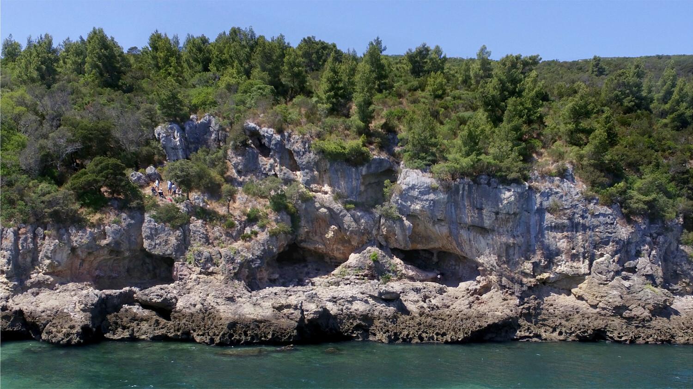 Nadelbäume stehen auf einer weisen Klippe, die aus blauem Wasser ragt. In der Klippe sind mehrere Nieschen.