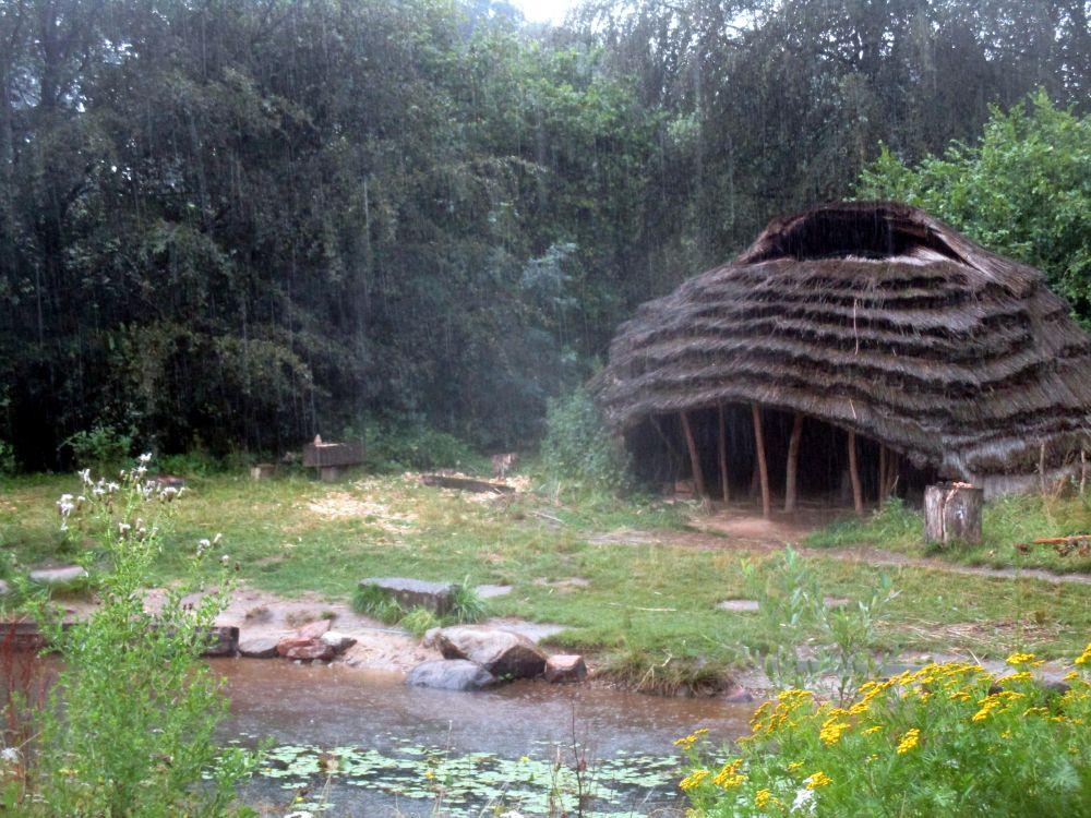 Ein Haus aus dem Steinzeitpark Dithmarschen. Es steht an einem kleinen See. inmitten Grüner Natur und dem Regen.
