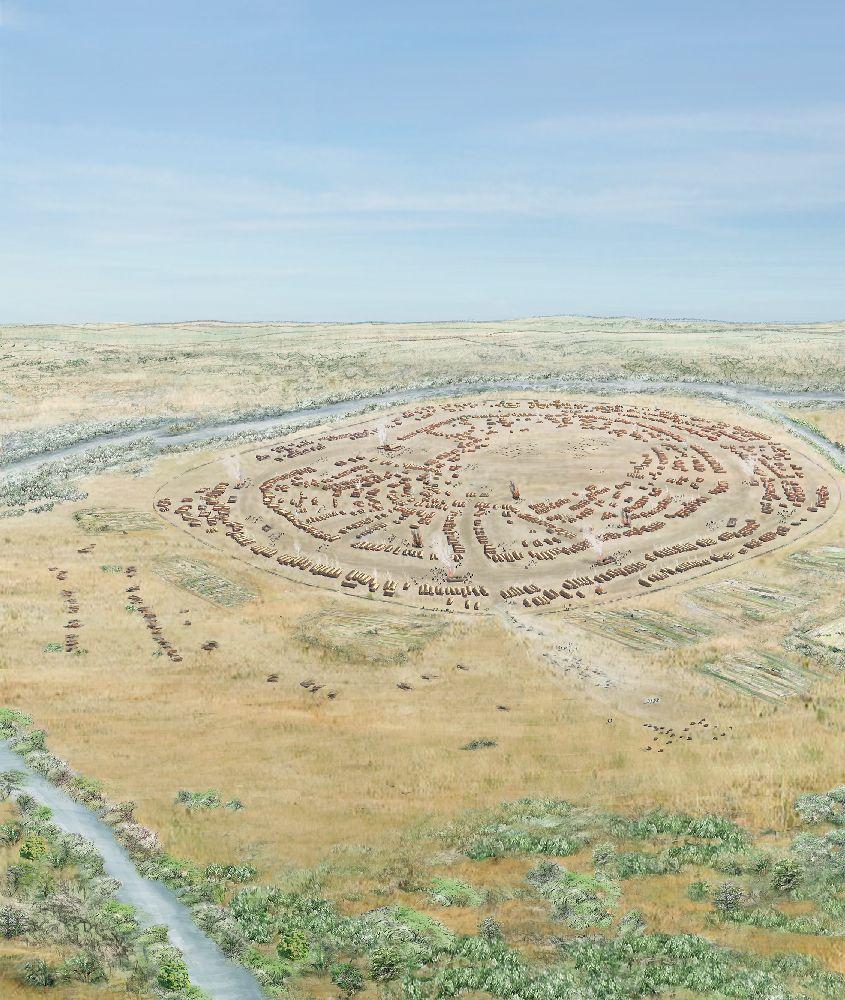 Eine Zeichnung von einer gleben Steppenlandschaft in der eine riesiege runde Siedlung errichtet ist.