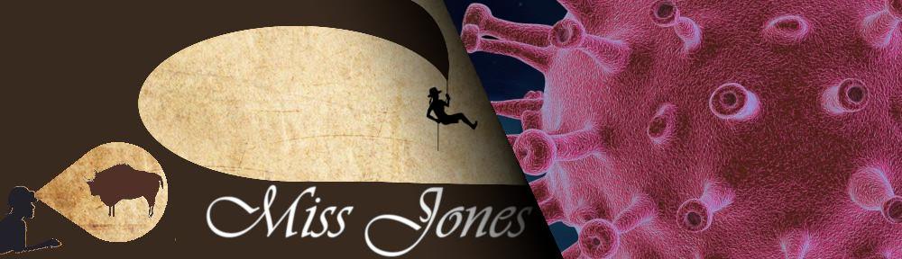 Das Miss Joneslogo, das von einem rot dargestellten Coronavirus unterbrochen wird.