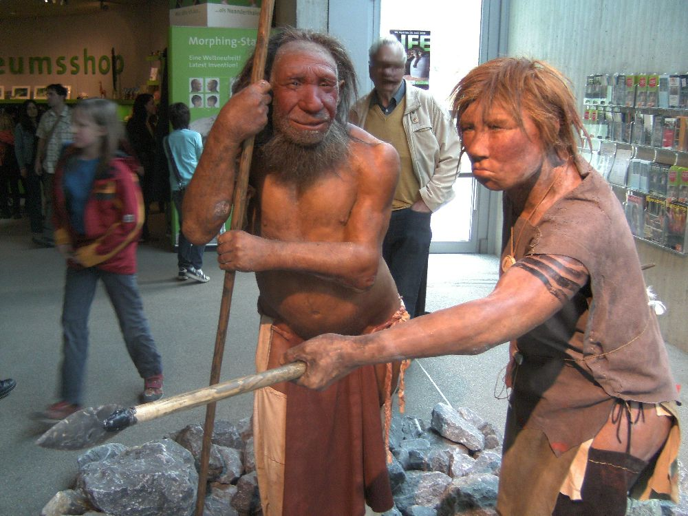 Zwei lebensgroße Wachsfiguren die Neandertaler zeigen. Ein Älterer mit einer Halbklatze, der Sich auf einen Stoc stützt, und ein Jüngerer mit kurzem blonden Haar, der einen Speer in der Hand hält. es wirkt als würde der Alte dem Jungen etwas erklären.
