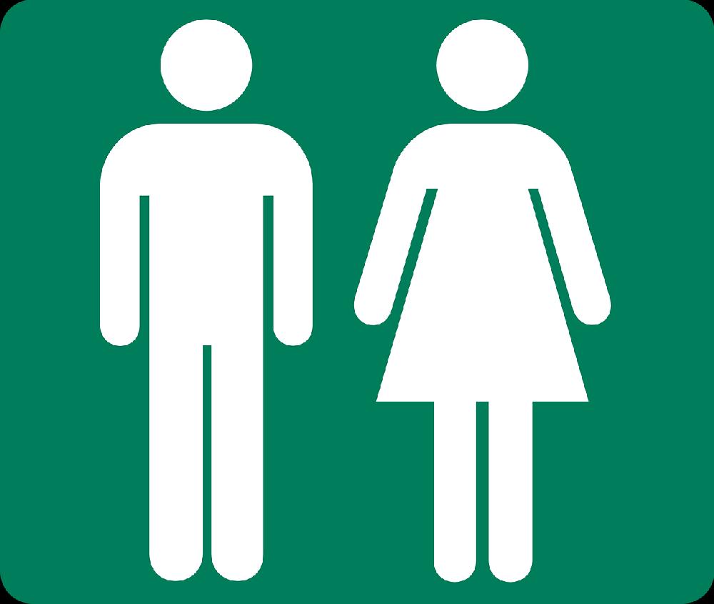 Ein Toiletteniktogramm mit einem Mann und einer Frau