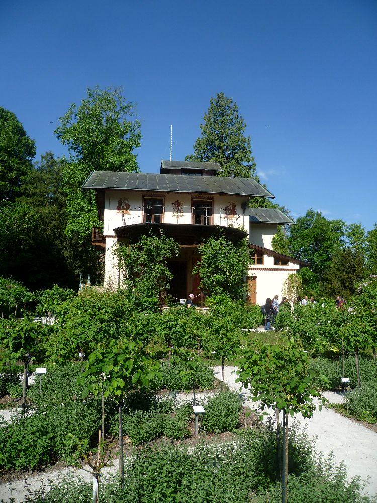 Pflanzn stehen im Vordergrund. Im Hintrgrund ist ein altes Gebäude zu sehen.