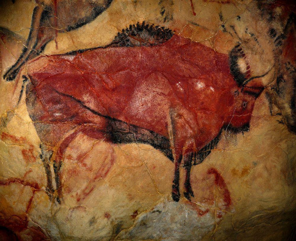 Die Felsmalerei eines Bisons.