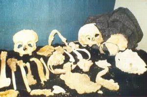 Die überreste von zwei Menschen, die in der Lichtensteinhöhle gefunden wurden. Die Knochen und Schädel sind nebeneinander Ausgelegt.