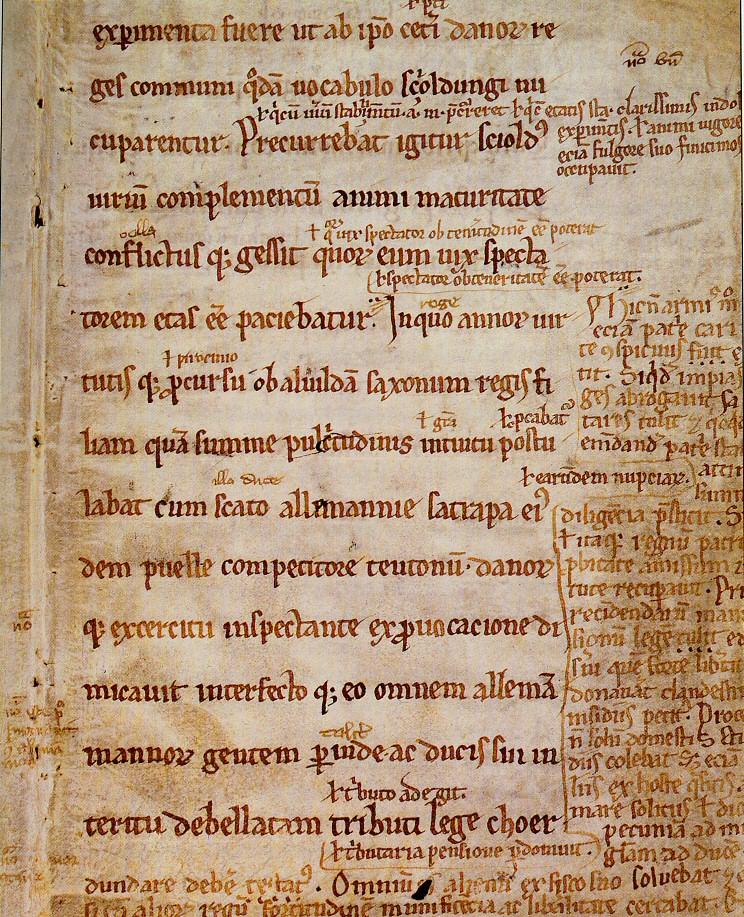 Ein Originalprgament aus dem Frühmittelalter. Es ist ein Ausschnitt aus dn Aufzichnungn von Saxo Grammaticus. Es ist in Rote schmuckvolle Schrift.