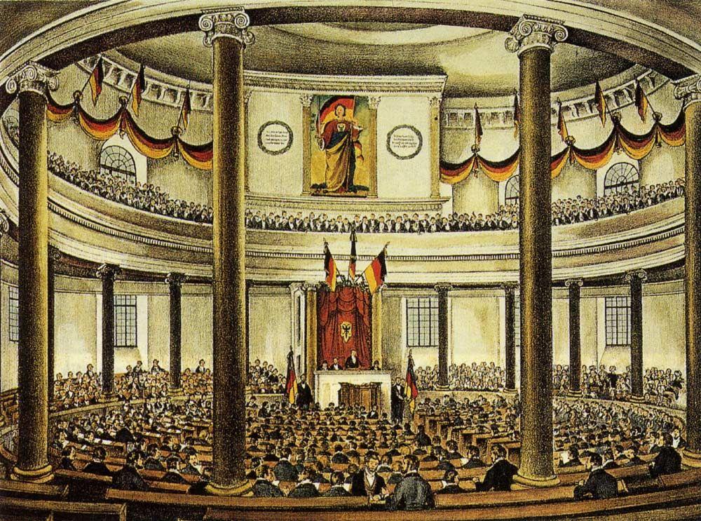 Eine Zeichnung von der Nationalversammlung in der Paulskirche.
