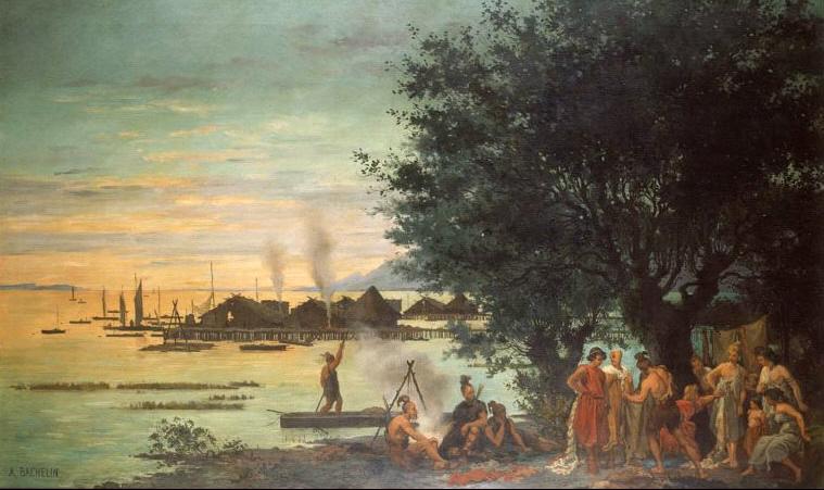 Eine Malerie aus dem 19. Jahrhunddrt. Im Hintergrund ist ein Pfahlbaudrof zu sehen. Im Vordergrund steht ein Mann auf einem einbaum, der an in Seeufer heranfährt. Eine Gruppe aus mindestens 8 Männern diskutiert stehend am Ufer.