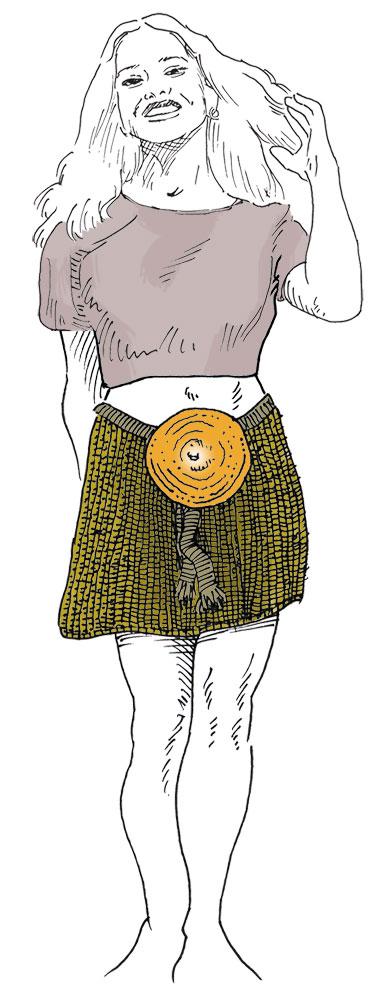 Die Zeichnung iner Jungen Erwachsenen. Sie trägt einen kurzn Rock und ein Bauchfreies Shirt.
