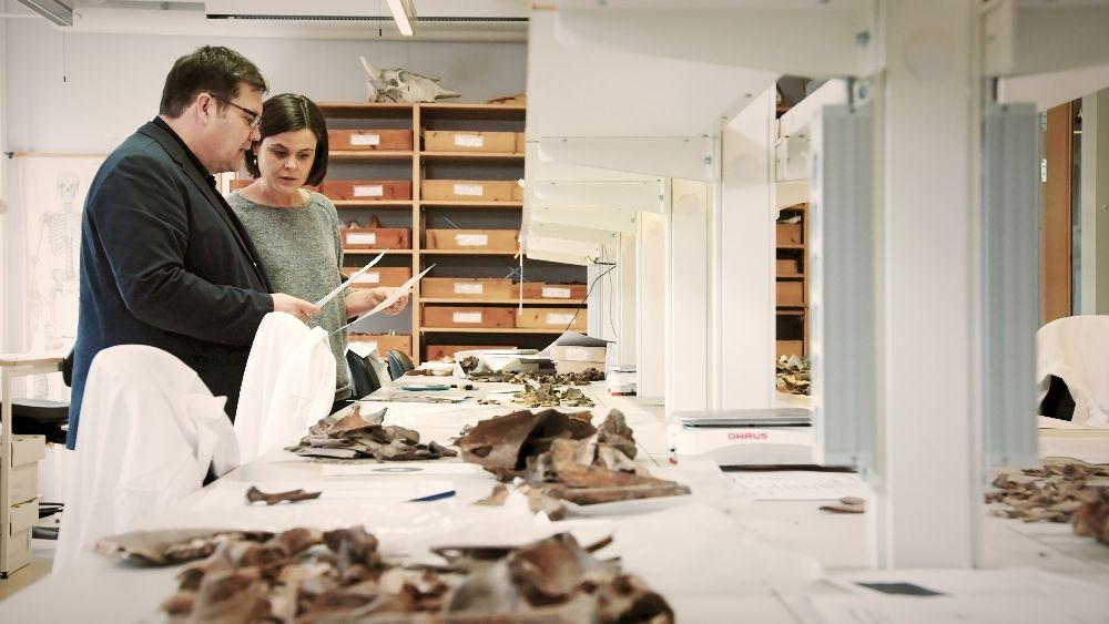 Ein Frau und ein Mann stehen von einigen Knochen in einem hell ausgeleuchteten Raum. Sie halten Zettel in der Hand mit denen sie Analysen machen.