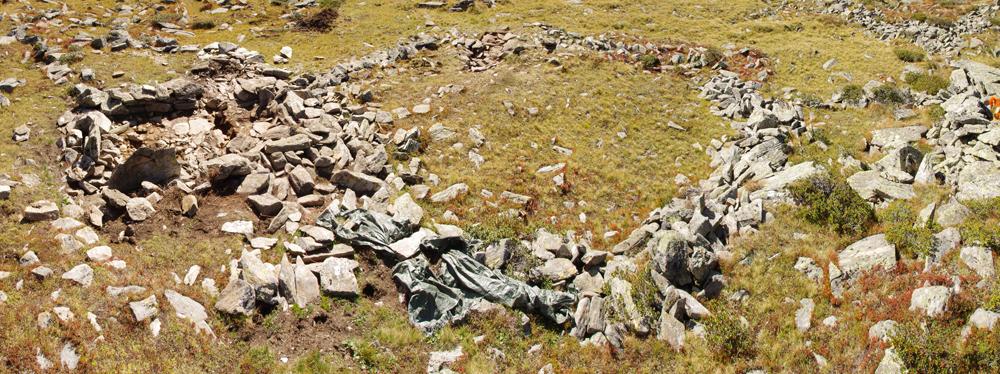Die Grundmauern eines Pferchs, die sich auf der Grünn Wiese abzeichnen. Der Pferch besteht aus Aufgschichteten Naturstein. etwas Kniehoch haben sich die Mauern erhalten.