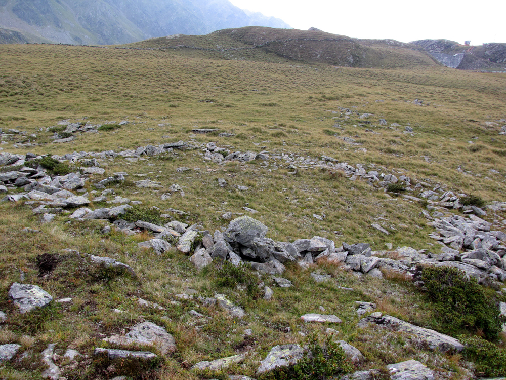 In inem großen Rechteck bieinander leigende Steine. Vmtl. die Grundmauern eines vrgangenen Baus. Die Mauern zeichenen sich deutlich sichtbar auf der Wiese ab.
