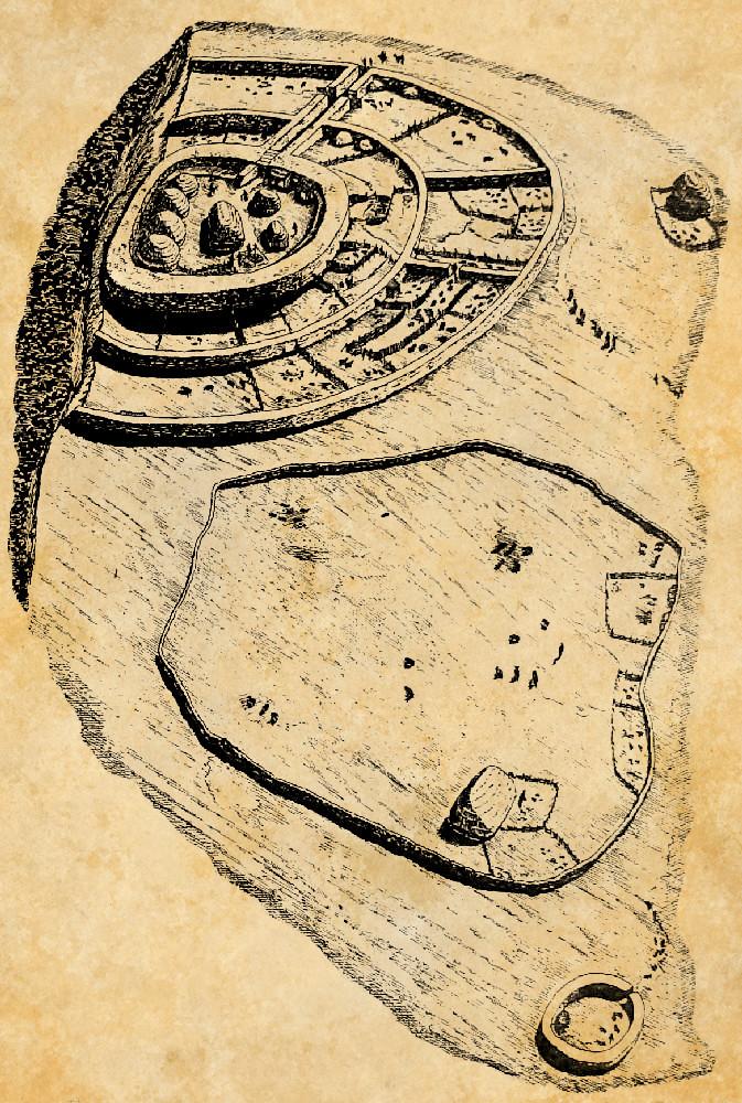 Ein gezeichnten Plan einer rekonstruktion der Anlage auf einem Pergaent. Die Anlage bestht aus einem Bau mit drei Massiven Steinmauern, welch im Kreis verlaufen.