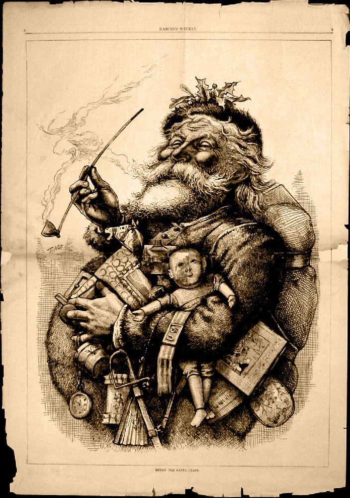 Harpers Weekly vom 1. Januar 1881. Ein Holzschnitt ines Weihnachtsmannes. Ein Ma mit knollnase und Mantel hat eine menge Kinderspielzug unter den kinken Arm gklemmt, in der recht Hand hält er eine Pfeife.