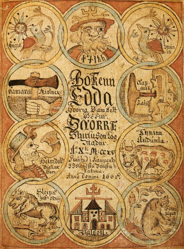 Ein Wildes Titelbild . Ein ergamet bemalt mit 10 Verschiedenen Szenen aus der Edda Snorra, die jeweils in Kreisen abgesetzt sind.