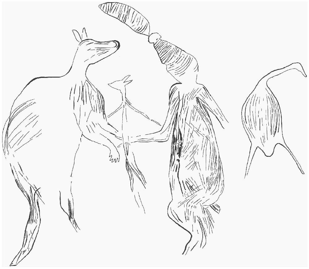 Die Zeichnung einer Felszeichnug. 4 Figuren sind klar zu erkennen, sie scheien Ringelreihe zu tanze. Darunter ein Mensch mit eier Turmfriesur und zwei Kängurus. Die vierte Figur ist nicht zu endziffern.