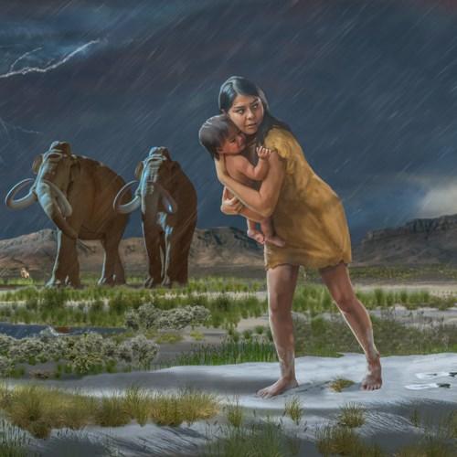Eine Grafik mit einer in Leder gekleideten Frau, die ein Kind auf dem Arm hält. Die Landschaft ist matischig. Der Himmel ist Grau, es Regent in Strömen, Im Hintergrund laufen zwei Mammuts.
