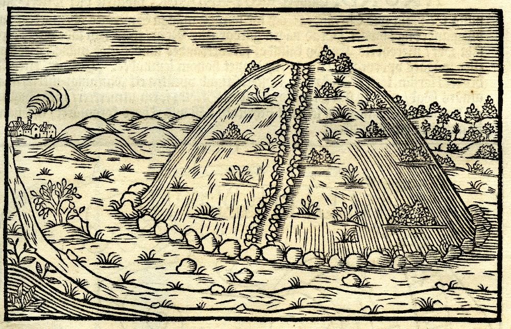 Eine Zeichung von einem hohe Hügel mit eiem Weg, der mit Steinen begrenzt ist.