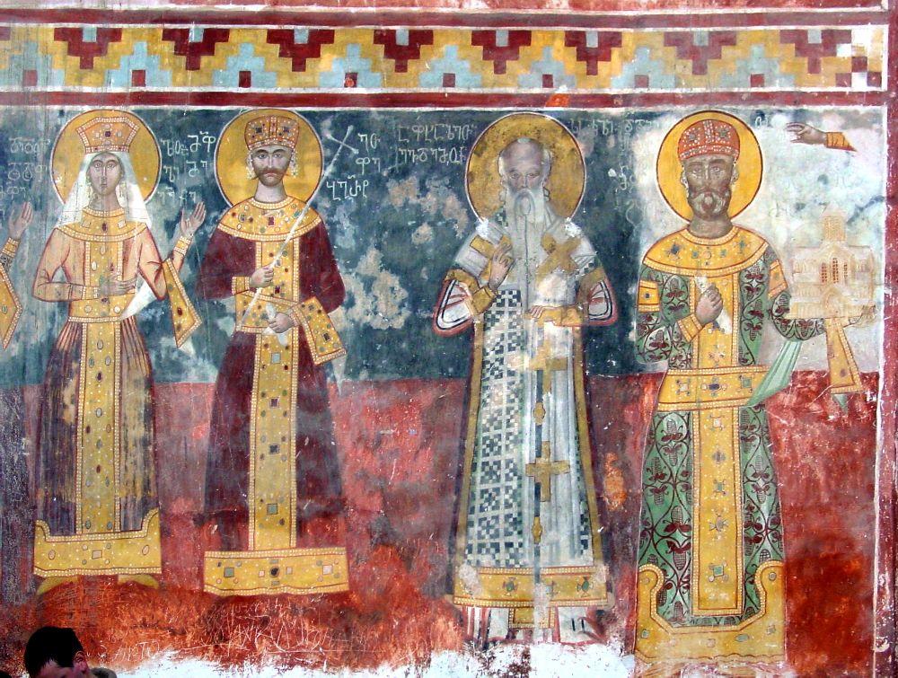 Ein Frsko, überwiegend in rot gehalten mit vier Personen die inen Heiligenschein tragen. Alle sind in christliche Roben gewandet.