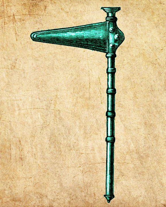Zeichug auf Pergament. Ein Grünes Bronzeobjekt. Ein Stabdolch besteht aus eier Dolchklinge, an die Senkrecht nach unten verlaufend ein lagner Stab angebracht ist.