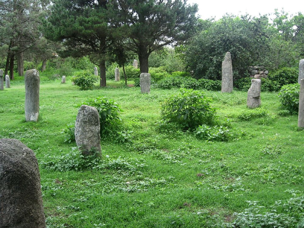 6 Hunaca auf einer Grünen Wiese verstreut. Die teils sichtbar errodierten grauen Steine stehen auf einer grünen Wiese.