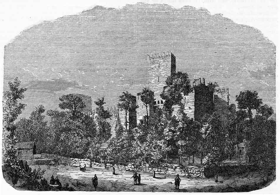 ZTeichnung der Burg aus dem 19. Jahrhundert.