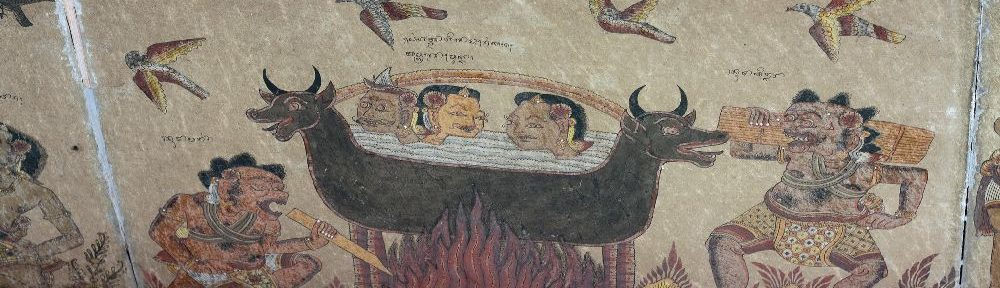 Bild von einem Topf auf einem Feuer. Drei Menschen gucken aus dem Topf raus. Ein Mensch steht dneben und facht das Feuer an, ein zweiter bringt Holz.