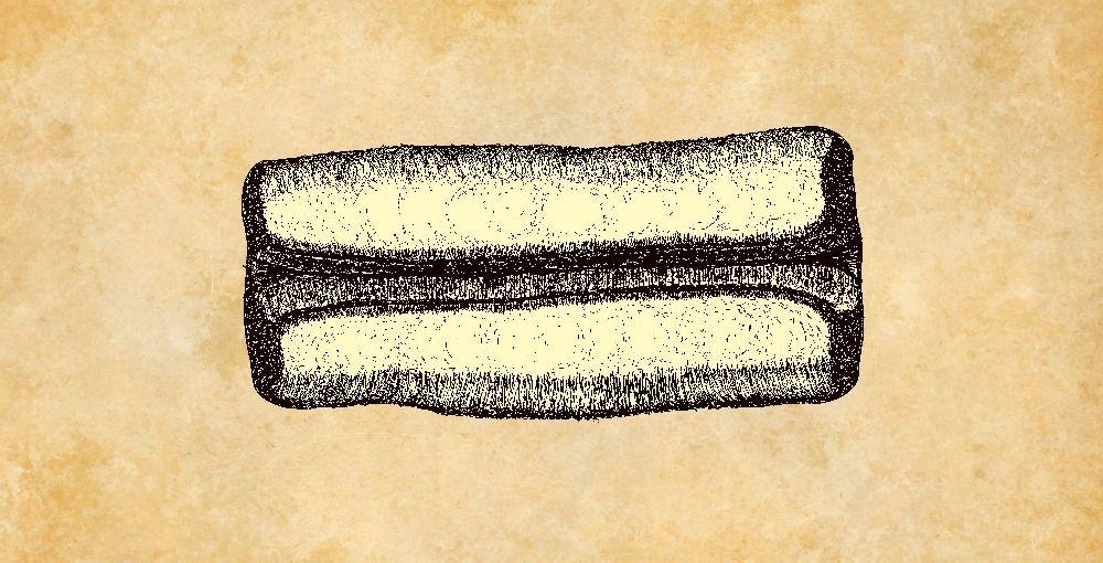 Zeichnung eines Pfeilschaftglätters - Deutlich zu sehen ist die Mittelrinne welche an dan Aussenseiten ausgefranst ist.