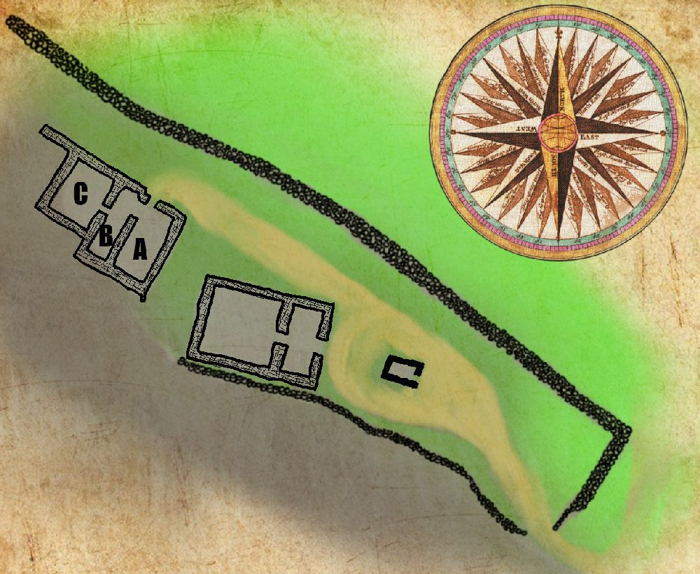 Eine Grundrisskarte von Tempel, und dem dahinterliegenden Bau. Die Räume des Nebengebäudes sind mit A B C Beschriftet. Es ist deutlich, das der Eingang nach Norden zur Siedlung Lato zeigt, und das der Bau aus einem zweigeteilten Raum A,B besteht und Raum C davon Abgeht, und ungefaähr so groß ist wie A und B zusammen