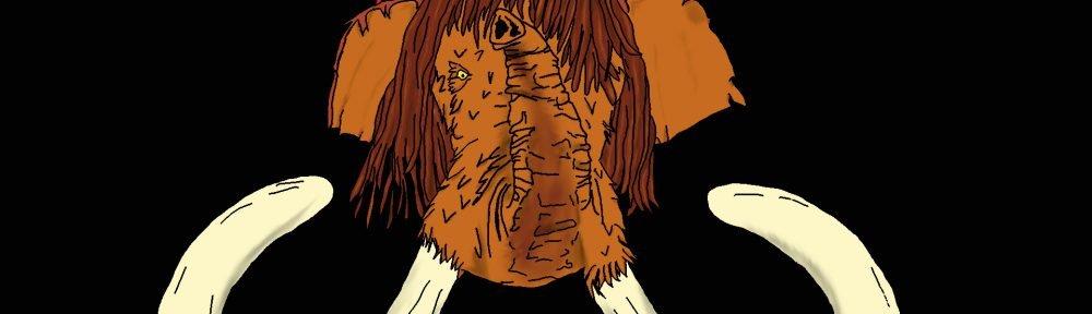 Eine Zeichnung von einem Mammut mit Dreadlocks. Das Mammut trägt eine Strickmütze die rot gelb Grün Schwarz gestreift ist.