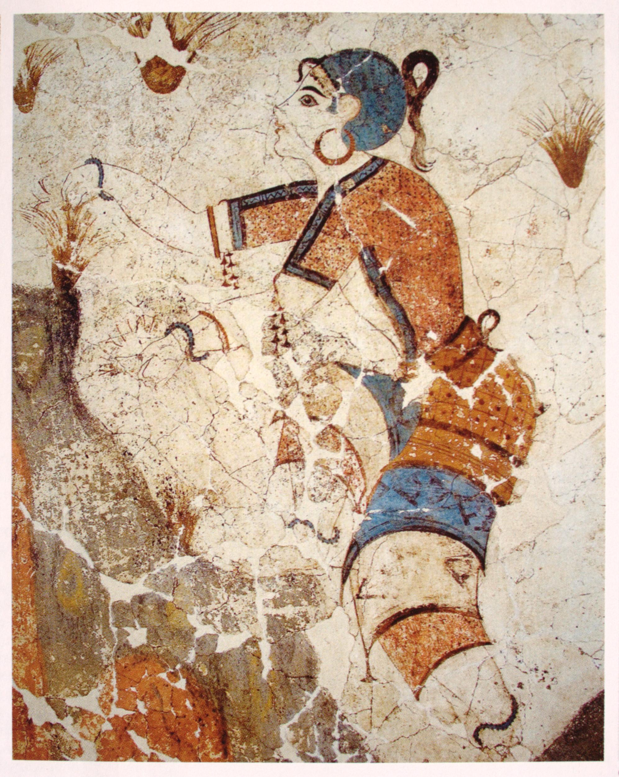 Eine jungs Frau mit weiser Haut und Blauem Zopf. Sie trägt ein orangenes langes Kleid mit blauen strefen und Pflückt safran.