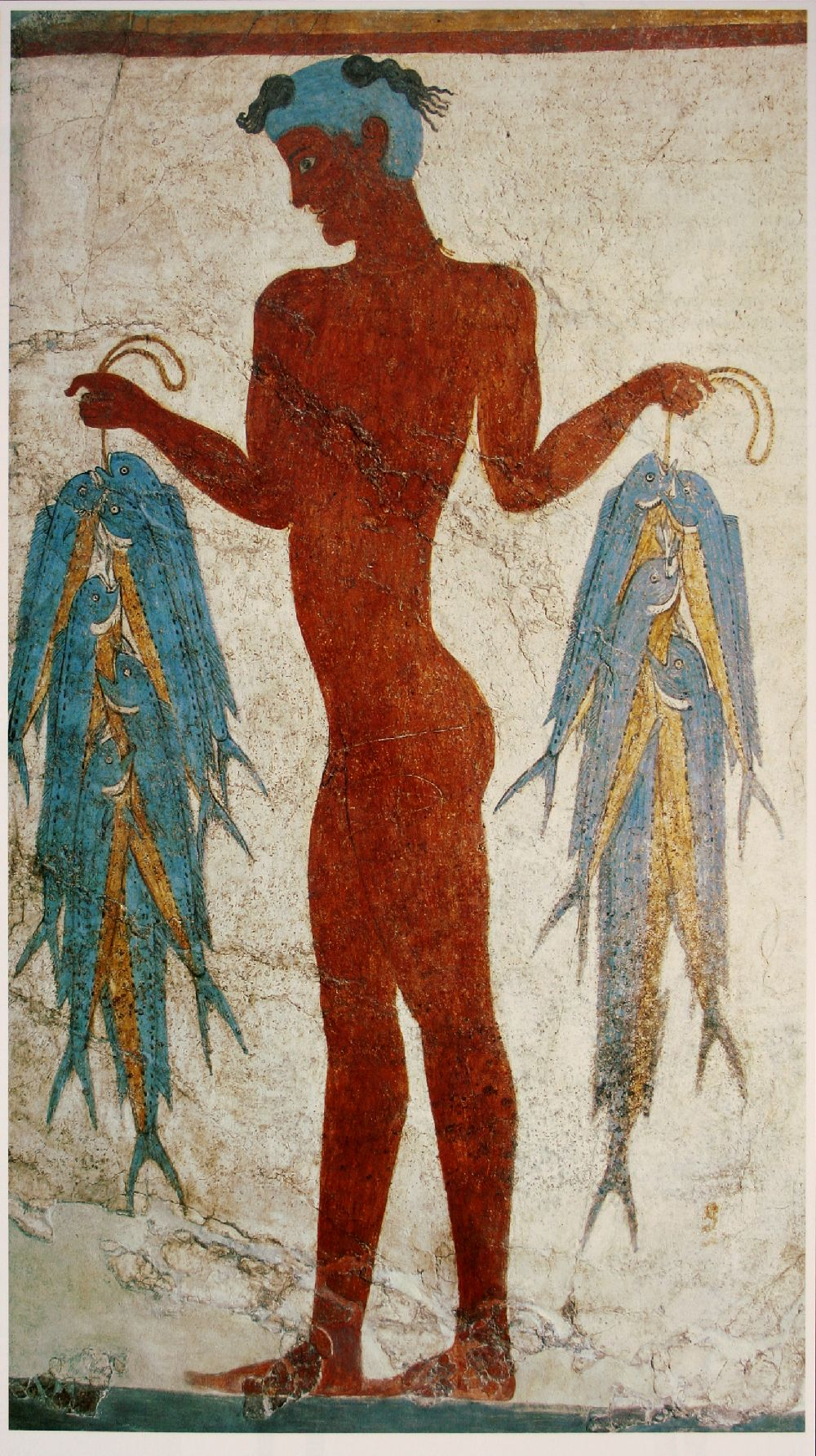 Ein Nachter Junge mit roter Haut und einem Loorbeerkranz der in jeder Hand ein Bündel mit ganz vielen Fischen hält