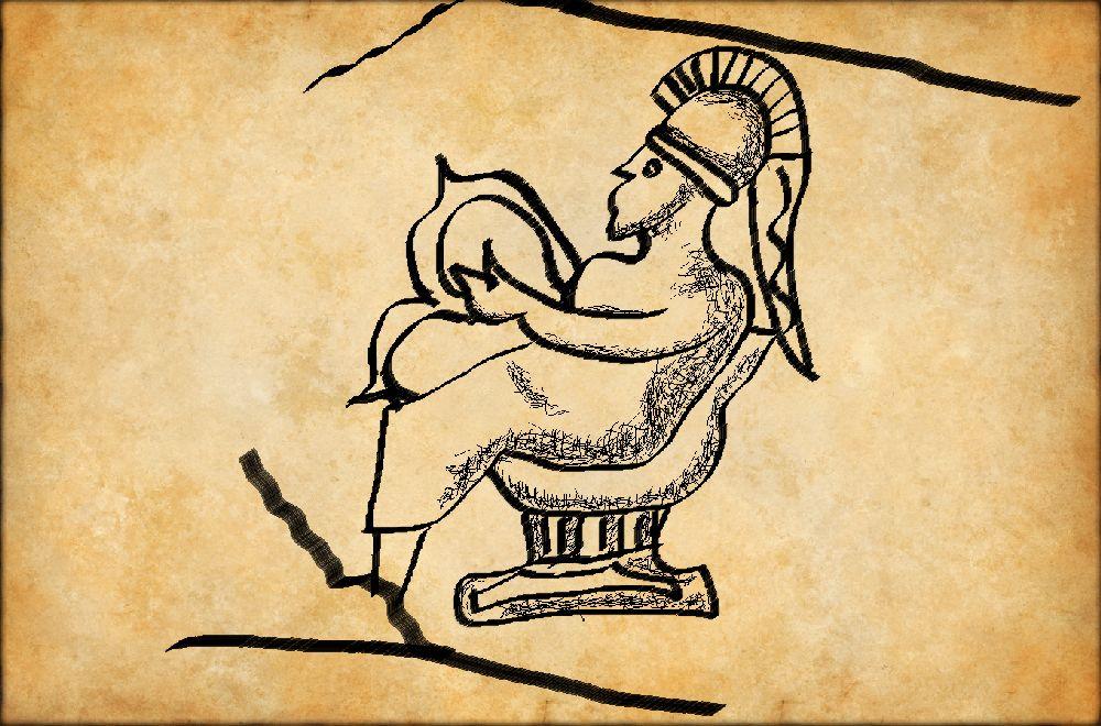Eine Person sitzt mit einer Lyra auf dem schoß und einem Helm auf einem Stuhl. Digitale Kalligraphie auf Pergament.